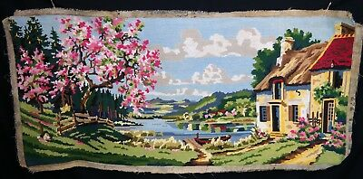Needlepoint Tapestry 'CHERRY BLOSSOM' French vtg Hand Sewn Completed NEEDLEPOINT