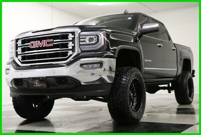 2016 GMC Sierra 1500 SLT Crew Cab 4WD Lifted Sunroof GPS Black 4X4 Like New Heated Cooled Leather Navigation Power Boards 6 In Lift 17 18 2017 18