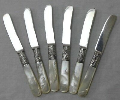 Set of 6 Mother Of Pearl Handled Dessert/Butter Knives w/Sterling Silver Collars