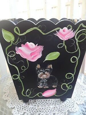 Hand Painted art Yorkie Yorkshire Terrier waste basket dog toy bin wood can