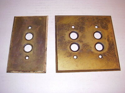 (2) Vintage Brass Round Push Button Switch Plates (single & double)