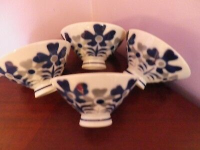 Fabulous Set Four Vintage Japanese Blue, White & Grey Flowers Design Bowls