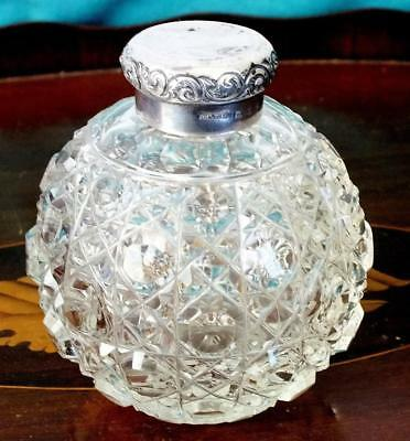 Solid Silver + Glass Scent / Perfume Bottle - Bham 1895 - G E Walton & Co Ltd