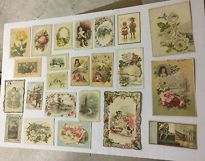 34  Victorian Antique 19th Century Late 1800's Pictorial Greeting Cards
