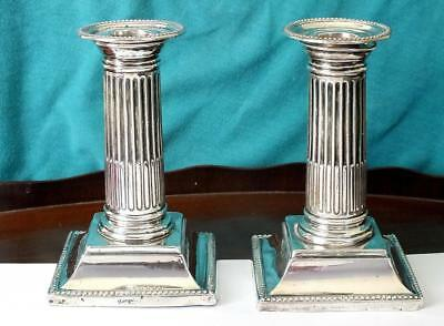 Pair Of Mappin & Webb Doric Column Solid Silver Candlesticks - Sheffield 1895