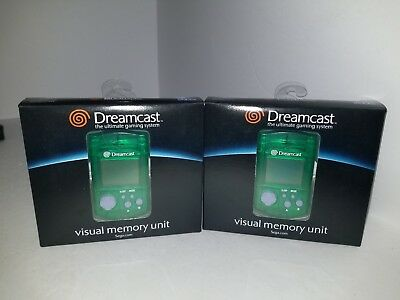 Two Genuine Oem Sega Dreamcast Green Visual Lcd Memory Unit Card Vmu Official