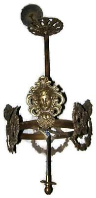 Antique 1911 Art Nouveau Bronze Hanging Ceiling Light Fixture Lamp Chandelier