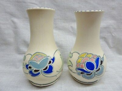 1950s pair of vases honiton england pottery signed p cranton art nouveau design