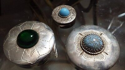 76g STERLING SILVER ELEGANT set 3 PILL BOXES WITH TURQUOISE AT THE TOP