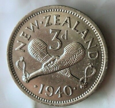 1940 NEW ZEALAND 3 PENCE - AU - Low Mintage SILVER Coin - Lot #F20