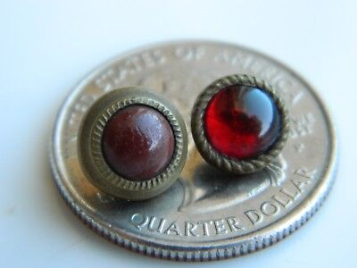 LOT Antique Vintage GLASS set in Brass Metal Waistcoat BUTTONS tiny diminutive
