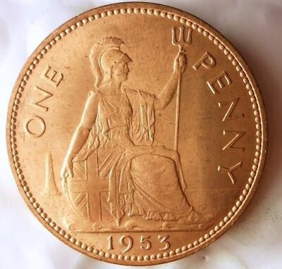 1953 GREAT BRITAIN PENNY - AU/UNC RED - RARE One Year Type Coin - LOT #F20