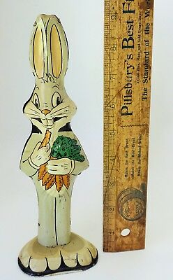 "Rare Warner Bros Bugs Bunny Tin Lithographed Figure Toy 9"" Tall Hollywood Made"