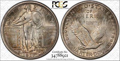 1917 Type 1 PCGS MS62FH Original Toned Standing Liberty Quarter (dw446)