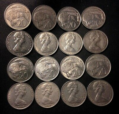 Old New Zealand Coin Lot - 16 Great Coins - 20 CENTS - Lot #F20