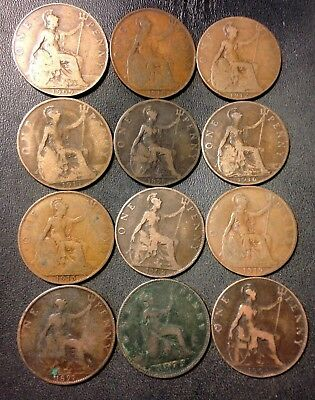 Vintage Great Britain Coin Lot - 12 EARLY DATE PENNIES - 1875-1919 - Lot #F20