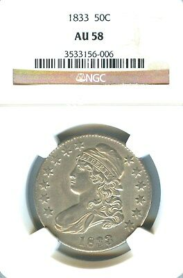 1833 Capped Bust Half Dollar NGC AU 58. Very Nice For The Grade
