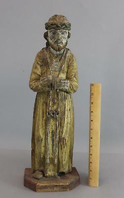 Antique 19thC Carved & Painted Wood Christian Sculpture Jesus & Crown of Thorns