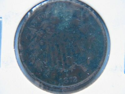 1872 2C BN Two Cent Piece Rare Key Date Nice Detail Bold Date Corroded VF Detail