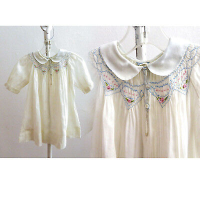Vintage Edwardian Baby Girl Dress Size 2 White Hand Smocked Embroidered Cotton