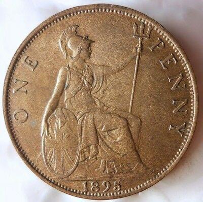 1895 GREAT BRITAIN PENNY - AU - High Grade and Value Coin - LOT #F20