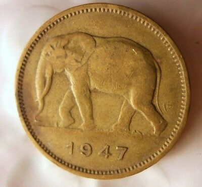 1947 BELGIAN CONGO 2 FRANCS - AU - Rare Exotic African  Coin - Lot #F11