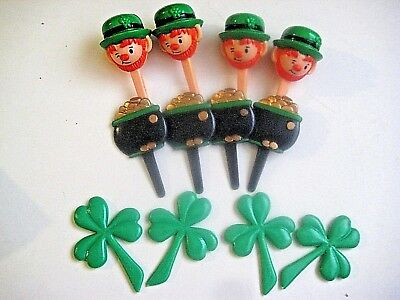 ST PATRICK'S DAY LEPRECHAUN-SHAMROCK-POT OF GOLD CUPCAKE PICKS ~~~  lot of 4 EA