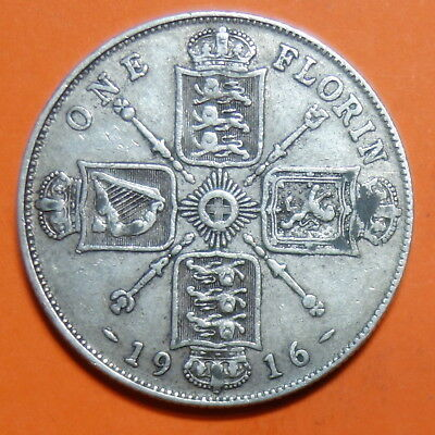 Great Britain  Florin. 1916.   0.925.  Silver.