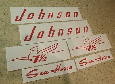 Johnson Vintage Outboard Motor 7-1/2 HP Decal Kit FREE SHIP + Free Fish Decal!
