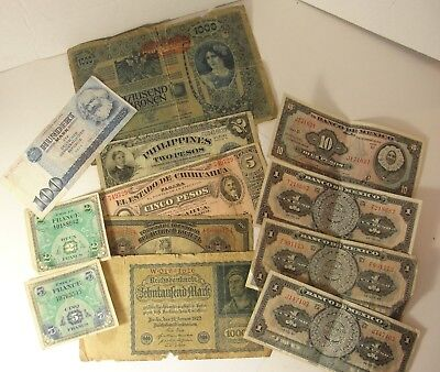 Lot of 12 Foreign Bills Currency incl. Austria France Germany and more