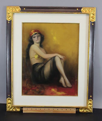 Antique Early 20thC Art Deco Pastel Drawing Painting, Beautiful Gypsy Woman