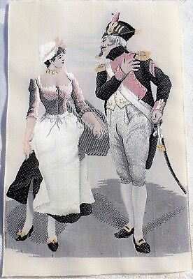 Vintage Small French Silk Tapestry Flirt Courtship Maiden with Soldier detailed