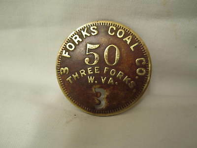 Old Brass 3 Forks Coal Company Coal Mining Scrip Three Forks, Wv Logan County