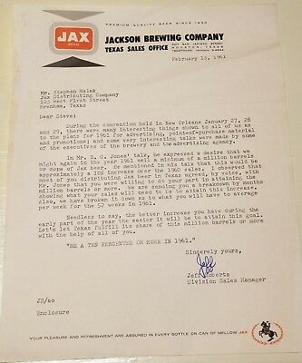 Jax Beer - Memo to Distributor - 1961 Million Barrel Sales Campaign Letterhead
