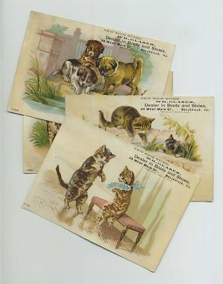 (4) 1800s Advertising Trade Cards Glaser Shoes Belleville IL Kittens Dogs bv5660