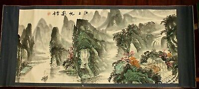 Vintage Chinese Original Watercolor Scroll Paper on Silk Mtn Landscape Signed