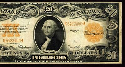 ** MINOR ERROR ** $20 1922 Gold Certificate ** MORE CURRENCY FOR SALE **