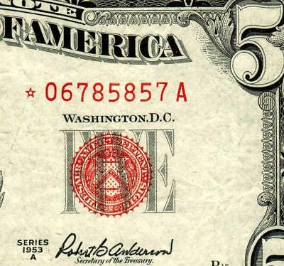 ** STAR ** $5 1953A United States Note  ** MORE CURRENCY FOR SALE **