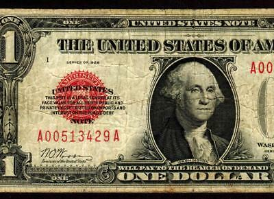 Fr. 1500. $1 1928 RED SEAL :: FUNNY BACK :: United States Note