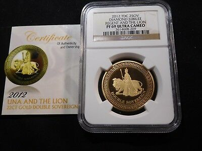 S107 Great Britain 2012-TDC GOLD 2 Sovereign NGC PROOF-69 Ultra Cameo w/ COA