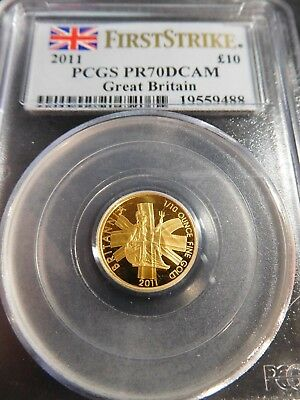 S109 Great Britain 2011 GOLD 10 Pounds PCGS PROOF-70 Deep CAMEO