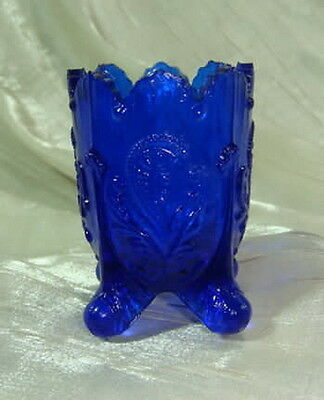 Fan & Feather Cobalt Blue Glass Toothpick Holder