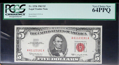 1963 $5 Legal Tender Note Red Seal Fr.#1536 - PCGS Very Choice New 64 W/PPQ