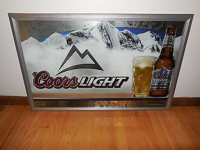 "(L@@k) Coors Light Beer Giant Mirror Sign 38"" Bar Man Cave Game Room New Rare"