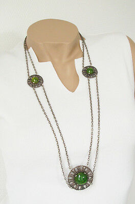 Vintage Bakelite Necklace Art Deco carved long silvertone chain green marble