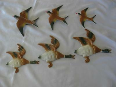 Set Of 3 English Design Flying Wall Ducks And A Set Of 3 Flying Wall Swallows