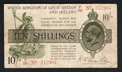 GREAT BRITAIN P-356. (1919) 10 Shillings.. Fisher.. F over 99, with No.. Fine