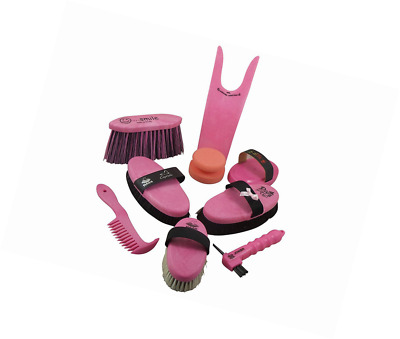 Big set grooming kit for horses in pink body-brush with lambskin