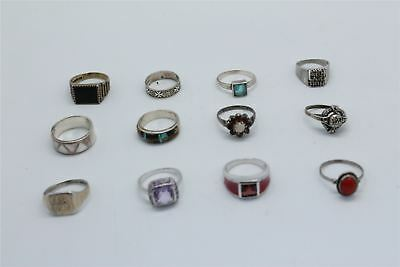 Lot of 12 x Vintage .925 STERLING SILVER Rings Mixed Inc.Stone Set -47g