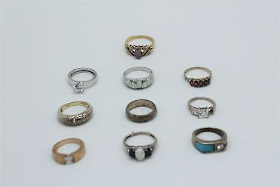 Brilliant Lot of 10 x Vintage .925 STERLING SILVER Rings Inc.Stone Set -44g